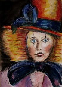 Harlekin, Aquarellmalerei, Pastellmalerei, Clown