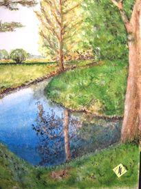 Fluss, Natur, Wasser, Aquarellmalerei