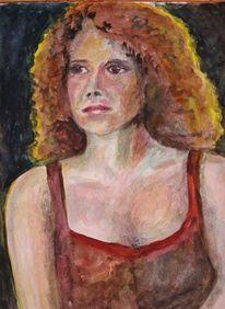 Junge frau, Aquarellmalerei, Portrait, Frau