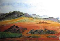 Farbige erde, Aquarellmalerei, Pigmente, Berge