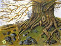 Wurzel, Natur, Zeichnung, Tuschmalerei