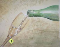 Aquarellmalerei, Sekt, Flasche, Anstoßen