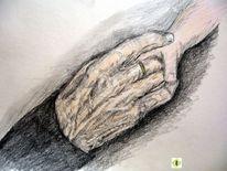 Zeichnung, Hände, Berührung, Nähe