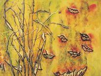 Gras, Blätter, Herbstfarben, Monotypie