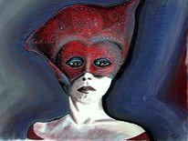 Tusche, Maske, Junge frau, Aquarellmalerei