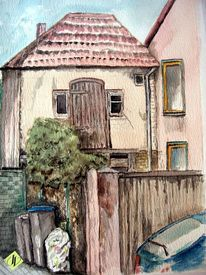 Hinterhof, Auto, Aquarellmalerei, Haus