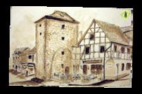 Tuschezeichnung, Bei michele, Schwalmstadt, Lavierung