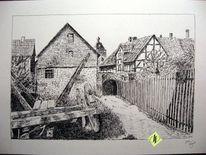 Neukirchen am knüll, Altstadt, Früh, Tuschezeichnung