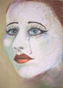 Schminke, Lippen, Gesicht, Tränen