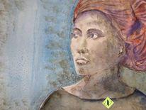 Afrikanerin, Aquarellmalerei, Kopftuch, Frau