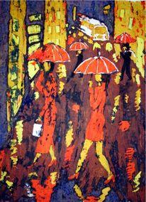 Fußgänger, Wachs, Regen, Batik