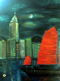 Nacht, Chinesische dschunke, Mond, Ölmalerei