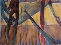 Aquarellmalerei, Menschen, Mann, Schatten