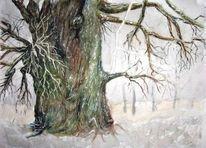 Baum, Alter baum, Rinde, Malerei