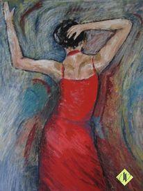 Wachspastelle, Rotes kleid, Lebensfreude, Bewegung