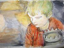 Ritterburg, Aquarellmalerei, Junge, Kind