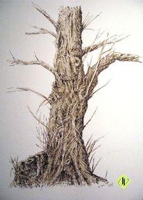 Rindenstruktur, Holz, Struktur, Aquarellmalerei
