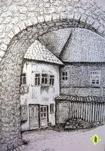 Alte gebäude, Hof, Tuschezeichnung, Stadtmauer