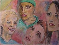 Junge frauen, Skizze, Vier frauen, Aquarellmalerei