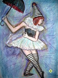 Junge frau, Pastellmalerei, Kostümierung, Regenschirm aquarell
