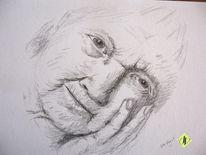 Alter, Zeichnung, Gesicht, Bleistiftzeichnung