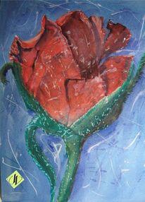 Rot, Rose, Aquarellmalerei, Zerstören