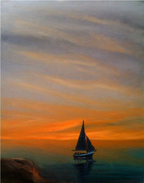 Boot, Meer, Sonnenuntergang, Malerei
