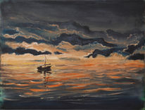Sonnenuntergang, Wolken, Boot, Meer