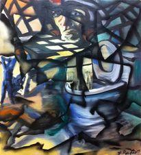 Zerfall, Fragment, Graffiti, Frau