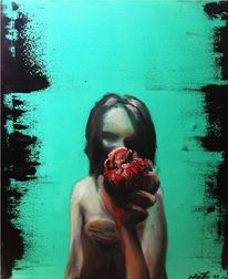 Frau, Herz, Malerei, Surreal
