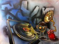 Plattenspieler, Herz, Affe, Schallplatte