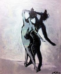 Akt, Schatten, Frau, Malerei
