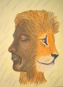 Afrikaner, Kultur, Pastellmalerei, Löwe