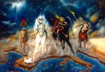 Vier apokalyptische reiter, Ölmalerei, Malerei, Surreal
