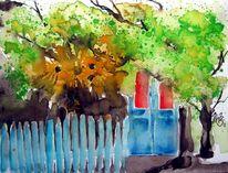 Baum, Aquarellmalerei, Creperie, Dinan