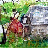 Baum, Steinhütte, Rhododendron, Aquarellmalerei