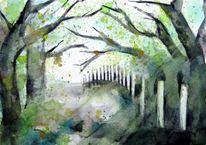 Aquarellmalerei, Baum, Bretagne, Malerei