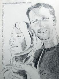 Portrait, Hochzeit, Zeichnung, Bleistiftzeichnung