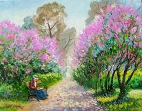 Flieder, Allee, Frühling, Malerei