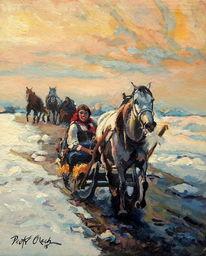 Pferde, Mädchen, Winter, Schlitten