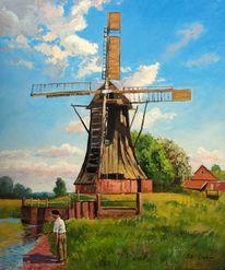 Windmühle, Angler, Wiese, Mühle