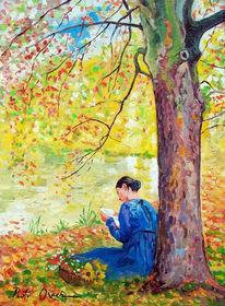 Herbst, Baum, Wasser, Brief