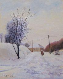 Prowinz, Frau, Winter, Schnee