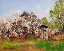 Haus, Frühling, Baum, Malerei