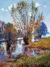 Baum, Herbst, See, Malerei