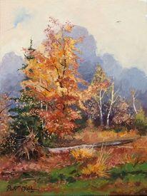 Herbst bäume, Malerei, Herbstfarben