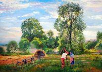 Landleben, Wiese, Bauer, Malerei