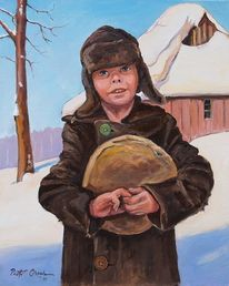 Schnee, Junge, Brot, Winter