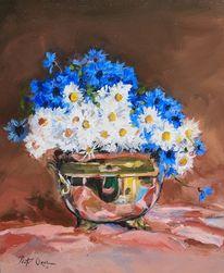 Blumen, Stillleben, Kornblumen, Margareten