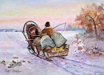 Schlitten, Pferde, Winter, Schnee